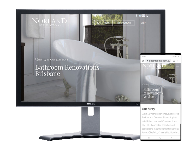norland bathrooms, Website by Fast Cheap Websites