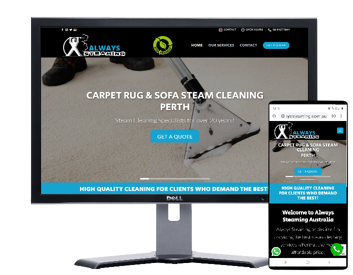 Always Steaming Perth-Website by Angie from fast Cheap Websites